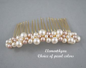 Ivory pearl comb. Gold hair comb. Bridal hair accessories. Light champagne pearls. Bridesmaid hair comb. Wedding hair do. Veil attachment.