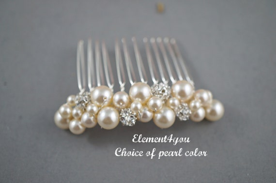 Fall Wedding Gold Hair Comb Bridal Accessory Metal Beaded Pearls Rhinestone Balls Comb Bridesmaid Hair Do Headpiece Hair piece Cluster