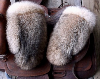 Coyote fur mittens handmade X large with red fleece liner