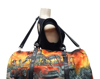 "USA Handmade Large Duffle bag shoulder bag Sports Bag Style ""Zombies Drive-In"" Rockabilly Halloween Pattern HandBag Purse,  Cotton, New"