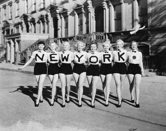 New York Chorus Line Girls NYC Cheerleaders Beautiful Happy Young Women Black and White 1920s 1930s Vintage Photography Photo Print Reprint