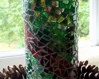 Holiday Mosaic Stained Glass Vase - Green and Red - 7 x 3 inches