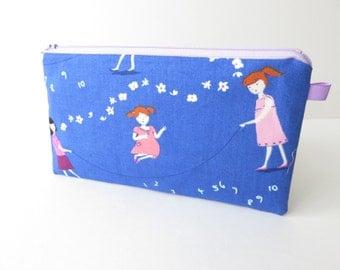 cotton fabric zippered pencil case