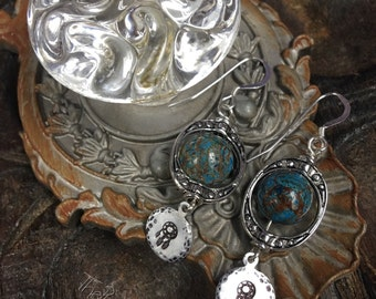 Dream Catcher dreams, Pewter, Silver,Aluminum, and blue sky Jasper earrings, ThePurpleLilyDesigns