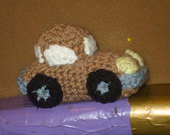 crocheted brown car