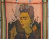 1 Large Mexican Frida Kahlo Orange Mercado Bag Party
