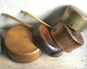 Vintage Copper Pots Pans, Tagus Portugal Set Lot Sauce Pans Lids