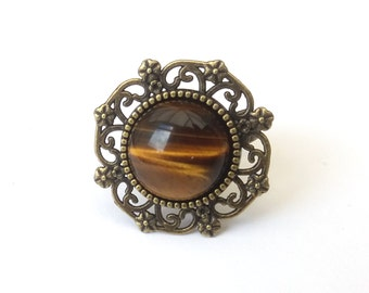 Tigers Eye Ring, Antiqued Bronze Filigree, Shimmering Striped Tigers Eye Cabochon, Gemstone Ring, Adjustable Ring