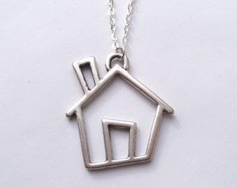Silver House Necklace, Large House, Statement Necklace, Long Necklace, House Pendant, Crooked House, Matte Silver