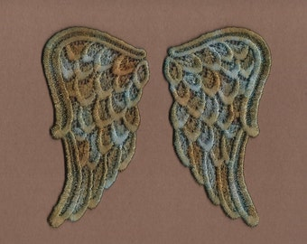 Hand Dyed Venise Lace Sweet Angel Wings  Aged Copper Turquoise  LARGE