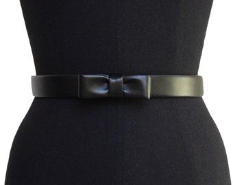 Leather Mini Bow Belt | Faux Leather | Black Leather Belt | Designer Belt | Vegan Black Belt | Bow Belt