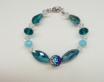 nbc-Sapphire, Aqua, and Clear Bracelet with Clasp