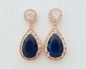Blue Rose Gold Wedding Earrings Something Blue Bridal Jewelry Cubic Zirconia Large Teardrop Bridal Earrings Sapphire Blue Wedding Jewelry