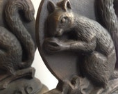 Pair Art Deco Bookends stylized Squirrel Bookends ,Antique Vintage Squirrel Bookends