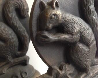 Pair Art Deco Bookends Squirrel Bookends , Antique Vintage Squirrel Bookends