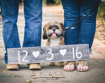 Wood Wedding Save the Date Sign Rustic Bridal Photo Prop Engagement with Hearts