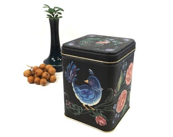 vintage 80s blue bird tin storage container square litho black purple can canister home decor decorative gold flowers floral painted crackle