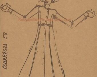 vintage 1970's haute couture courreges fashion plate drawing illustration print retro picture designer women clothing original mid century