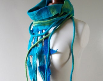 Felted Scarf Turquoise and Green - tails and lace - silk and wool