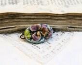 special listing for Violets- handmade ceramic connector - pansy violet flower romantic - for bracelet creation