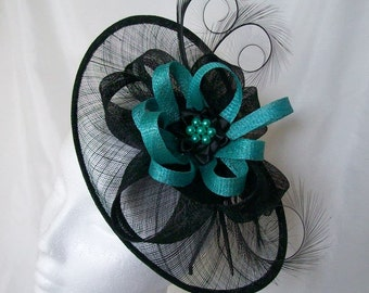 Black Sinamay Saucer Curl Feather and Jade Cyan Green Loop & Pearl Cecily Fascinator Hat - Made to Order