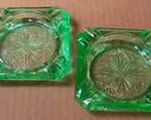 Green Depression Glass Ashtrays,  Two ashtrays,  Vintage green glass ashtrays