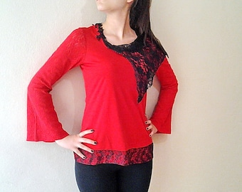 Red  Blouse Lace Red Top Lace Embroidered Red Top Red Lace Shirt Long Bell Sleeve Boho Chic Jersey Blouse
