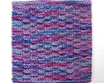 Knit Dishcloth, Cotton Washcloth, Purple Jewel Tone, Kitchen Dish Cloth, Face Wash Cloth