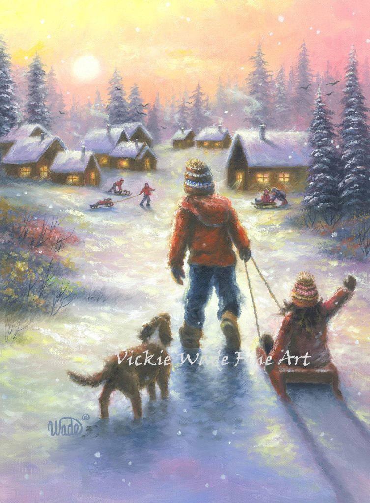 Children Snow Sledding Art Print Cabin Brother And Sister