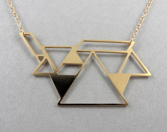 tangram necklace, triangle necklace, geometric jewelry