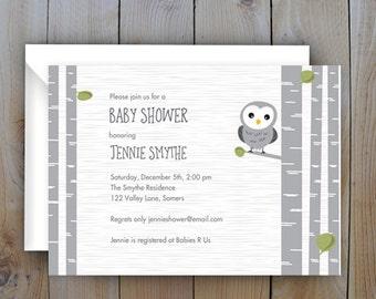 Baby Shower Invitation / Gender Neutral Printable Owl Shower Invitation / PRINTABLE INVITATION / Item 10880