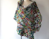 Nuno felted scarf, lace colorful shawl nuno felted stole Silk shawl  Grey rainbow  Women shawl silk scarf Summer scarf plus size shawl