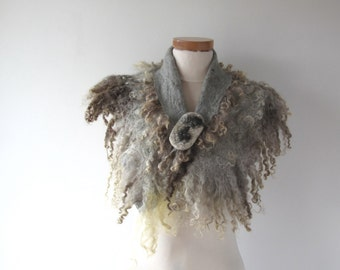 Fur collar Curly Felted collar Grey felt collar  Grey Fur scarf  Pure Wool Fleece real fur scarf Felt necklace