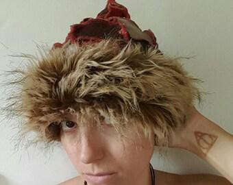 Pixie Wizard Hat in Pumpkin Spice with Brown Faux Fur Trim