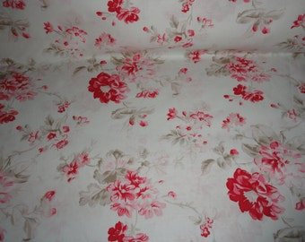 Winter Roses Cotton Fabric Quilting Sewing Supplies Shabby Roses and Chic Home Decor Fabrics by the Yard Designer Fabric Free Spirit Fabric