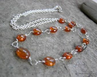 Sterling Silver Spessartite Garnet Gemstone Necklace