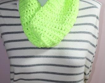 Crochet Cowl/Scarf - Neon Yellow