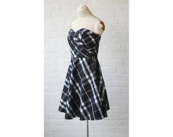 1980s Plaid Strapless Bustier Prom Dress