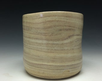 Simple cup, marbled tea bowl chawan tumbler, wabi sabi stoneware drinking vessel with clear liner glaze