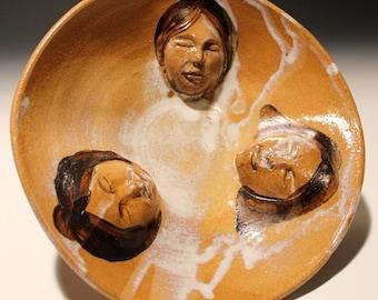 Ceramic Bowl, Three Faces Art Platter, Wabi Sabi Serving Dish Sculpture Conversation Figurine Pottery Vessel Candle Holder