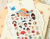 Cute Kokeshi Dolls cartoon puffy stickers