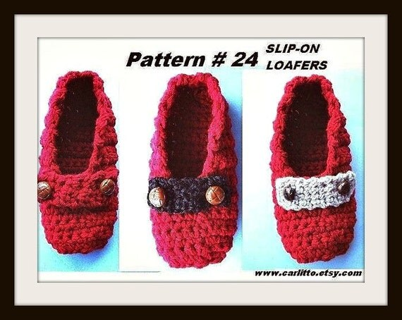 Beginner Crochet Patterns Slippers : Items similar to Crochet pattern - slippers - number 24 ...
