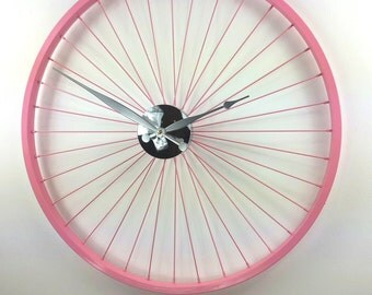 PASTEL Pink Bike Wheel Clock 57CM