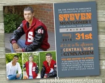 Custom Photo Graduation Announcement Invitation, Modern Fonts, Block Print, Subway Art Graduation