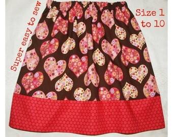 Girls skirt pattern, Twirl skirt pattern, Skirt sewing pattern, Easy skirt pattern, Toddler pattern, PDF pattern - All Hearts Skirt (S102)