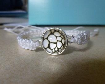 Macrame bracelet white nylon cord with animal print spacer