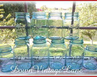 SHABBY 10 Blue Ball Mason Jars QUART and PINT Size Vintage