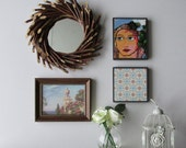 Wall art -Flowers in Her Hair - vintage collage with mirror