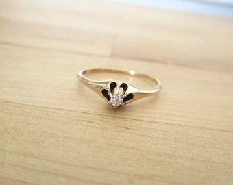 14k Yellow Gold Diamond Solitaire Ring - Antique Jewelry Estate Mid Century Victorian Art Deco 1920s Alternative Engagement Belcher