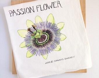 Passionflower Tea Towel, Watercolor flower